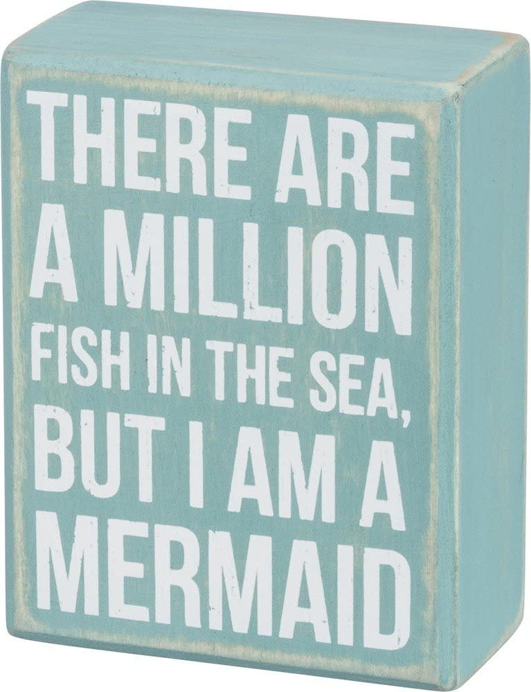 "Primitives by Kathy 35191 Beach-Inspired Distressed Blue Wood Box Sign, 3.5"" x 4.5"", Mermaid"