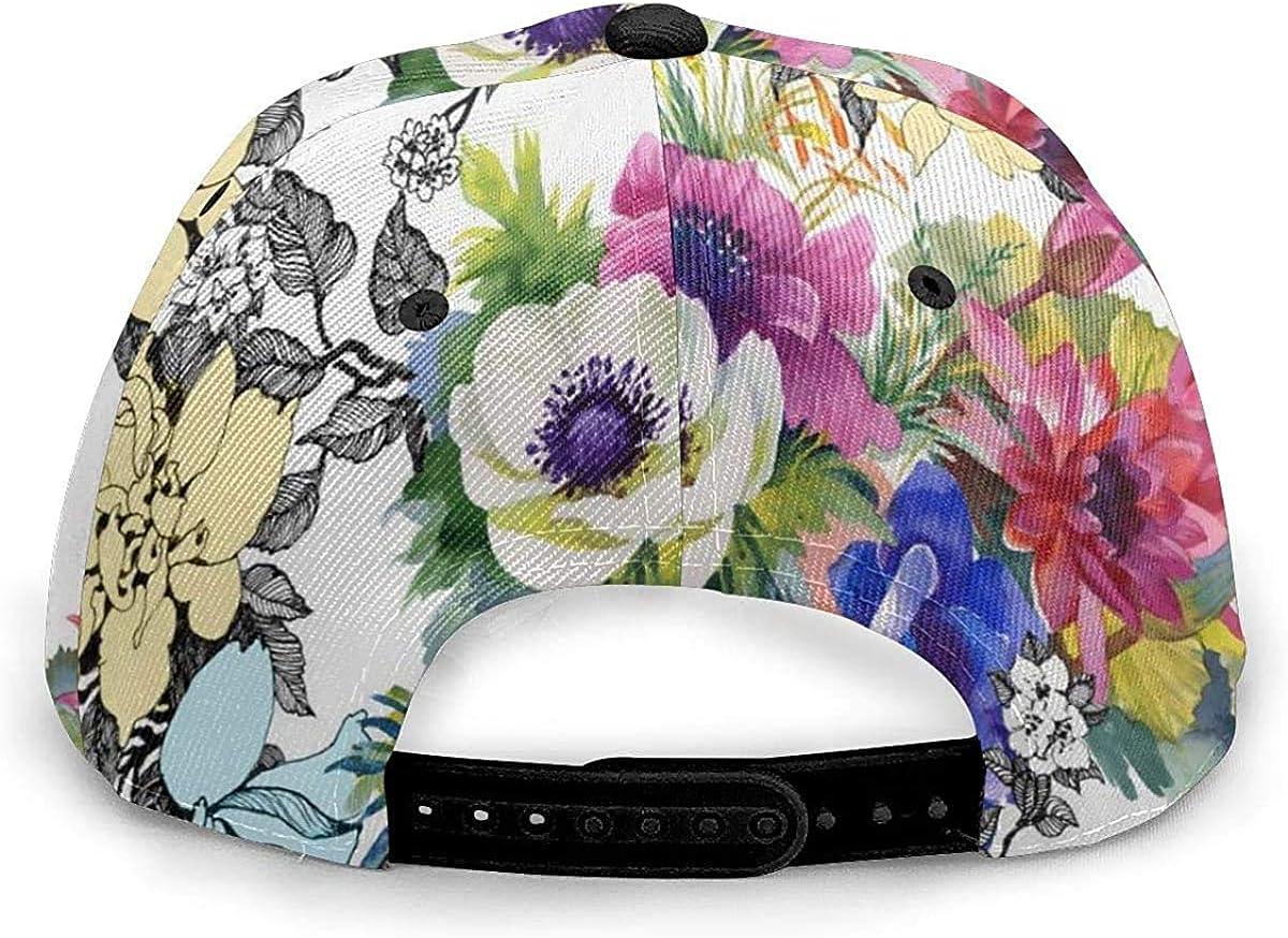 Retro Vintage Flower Art Design Lightweight Unisex Baseball Caps Adjustable Breathable Sun Hat for Sport Outdoor Black