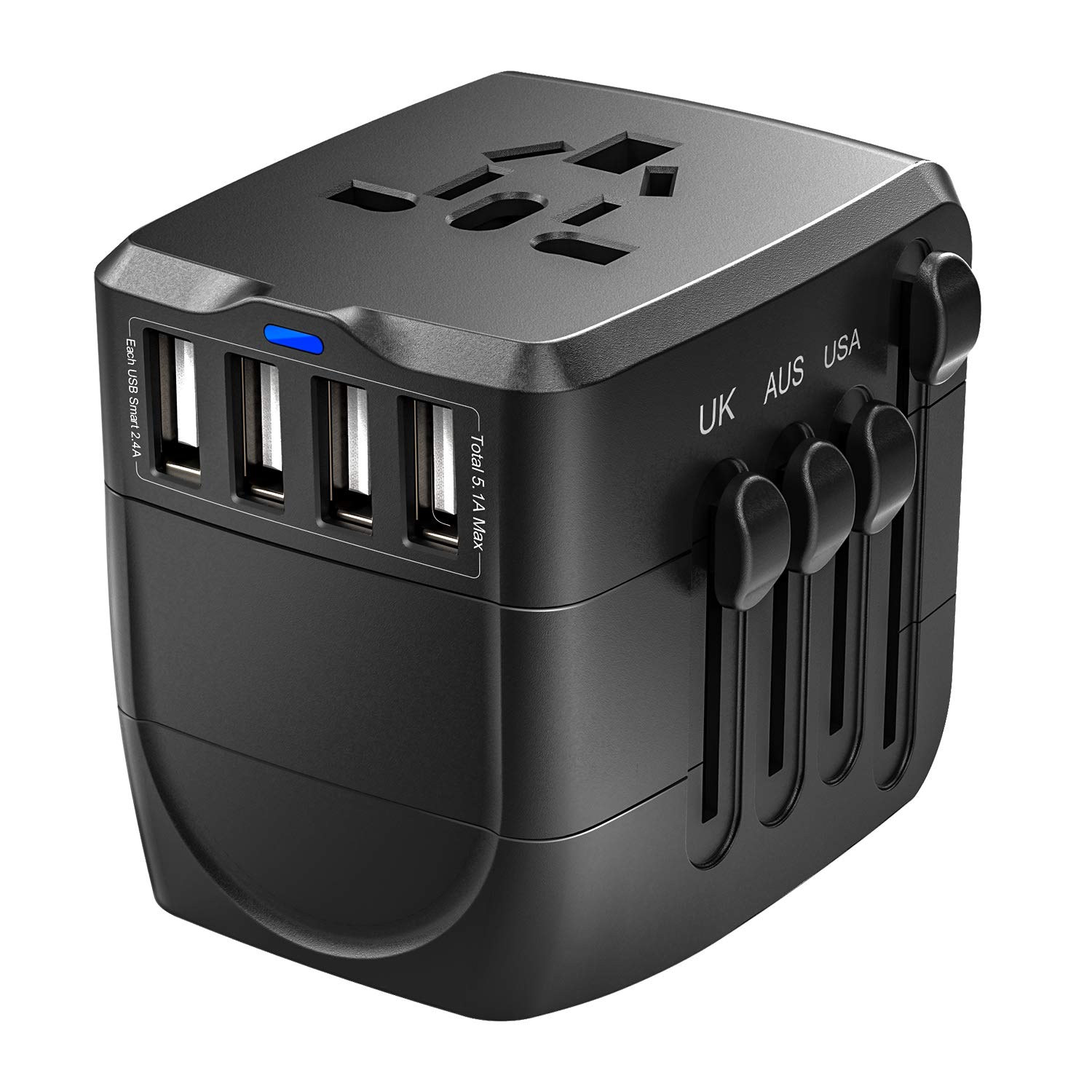Travel Adapter, 2400W International Power Adapter, Universal Adapter with 4 USB Ports, Perfect for UK, EU, AU, US, Over 150 Countries (Black)