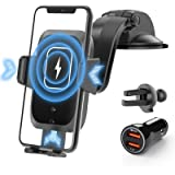 SHAWE Wireless Car Charger, 15W Qi Fast Charging Auto-Clamping Car Mount Charger Windshield Air Vent Car Phone Holder…