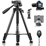"KINGJUE 60"" Camera Tripod for Canon Nikon Lightweight Aluminum Travel DSLR Phone Camera Tripod with 2 in 1 Phone Tablet Holde"