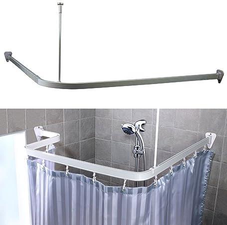 3 M cromo tamaño ajustable U forma de L esquina barra cortina de ducha Bendi pista flexible universal