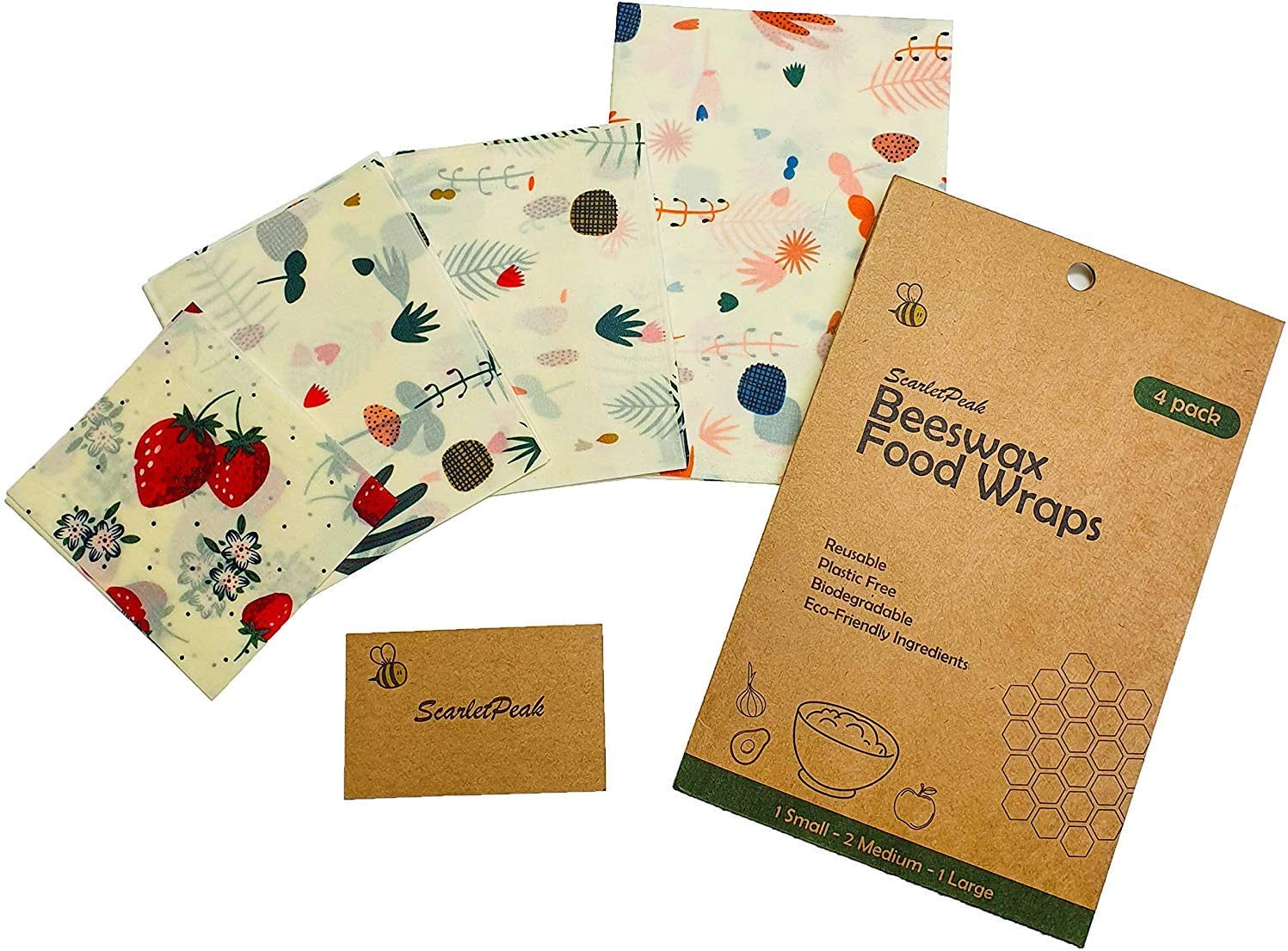 ScarletPeak Beeswax Food Wrap (4 pack), Eco Friendly Reusable Plastic Free Wraps For Sustainable Storage, Organic Biodegradable Natural Set - 1 Small - 2 Medium - 1 Large