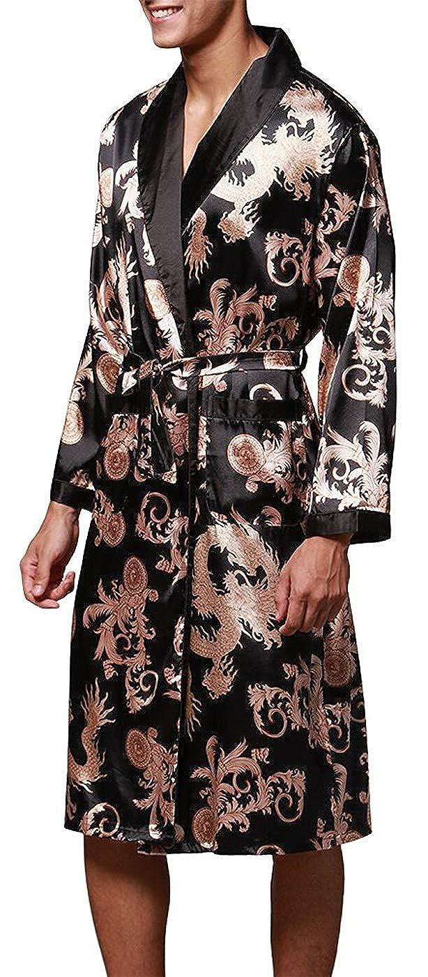 Stili di Moda L-XXL Evening Dressing Gown Lungo in Raso Pigiami e Abbigliamento//Notte Satin Vestaglie//Kimono Bagno Vestito VERNASSA Uomo Accappatoio