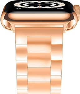 YGTIECS Compatible with Apple Watch Band 42mm 44mm, Business Solid Stainless Steel Metal Band Replacement iWatch Strap for Apple Watch Series 6/5/4/3/2/1, SE for Men Women- Rose Gold(42mm/44mm)