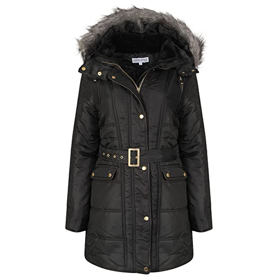 Womens Hooded Fur Trim Parka Jacket Ladies Long Winter Padded ...