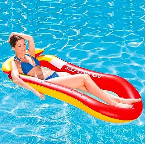 YUHT Colchoneta Hinchable Piscina Flotador Inflable, Tumbona Hinchable de Playa,Hamaca Flotante de Agua, sofá acuático, Esterilla de Playa para Adultos Natación al Aire Libre en Verano (Rojo): Amazon.es: Deportes y aire libre
