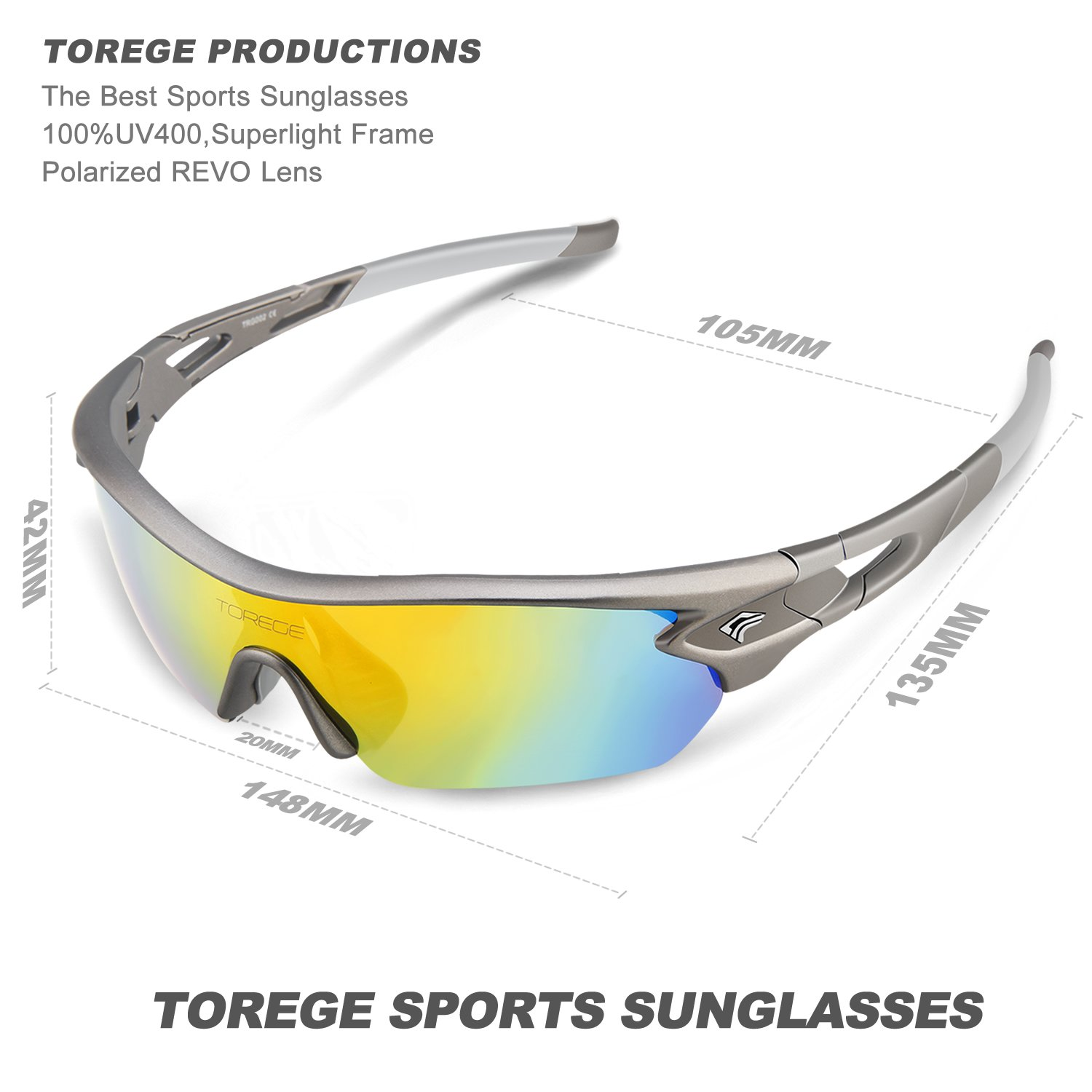 best sports glasses cr5m  Amazoncom : Torege Polarized Sports Sunglasses With 5 Interchangeable  Lenes for Men Women Cycling Running Driving Fishing Golf Baseball Glasses  TR002