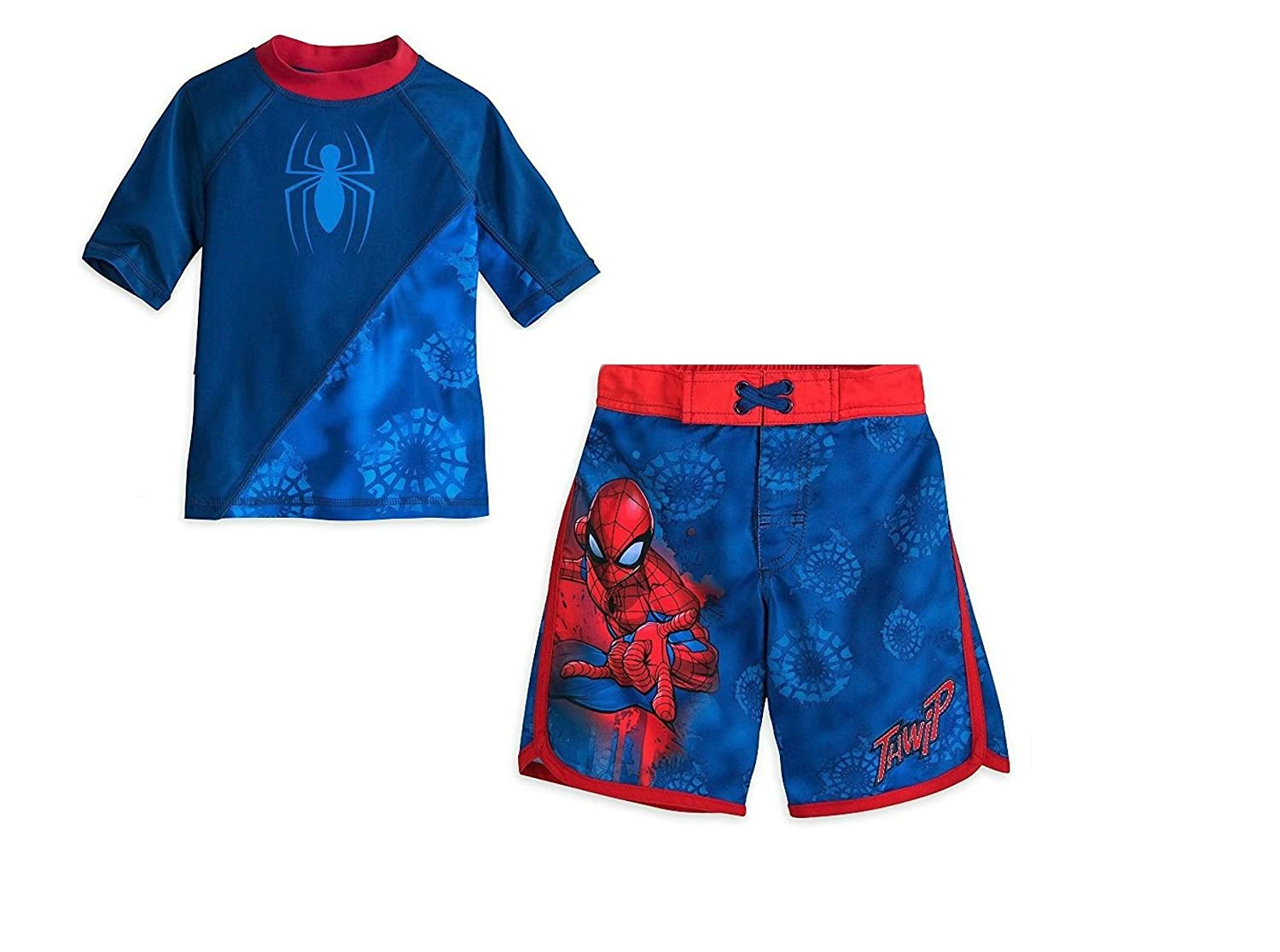 Marvel Spider-Man Boys Swim Trunks and Rash Guard Set (Toddler/Little Kid/Big Kid) UPF 50+ Sun Protection
