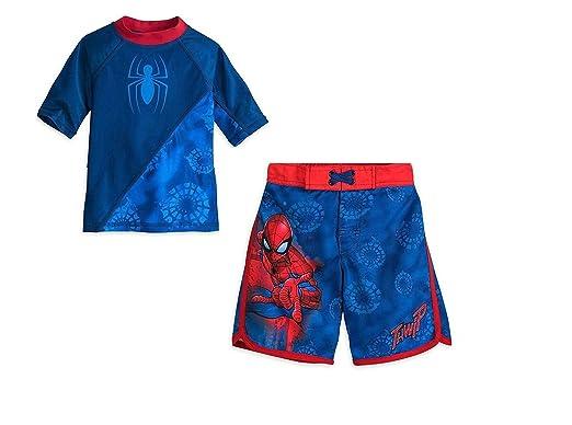 a76be2e5e2307 Marvel Spider-Man Boys Swim Trunks and Rash Guard Set (Toddler/Little Kid