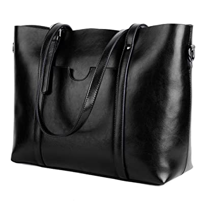 0e130cddfa YALUXE Women s Vintage Style Soft Leather Work Tote Large Shoulder Bag  Black 2