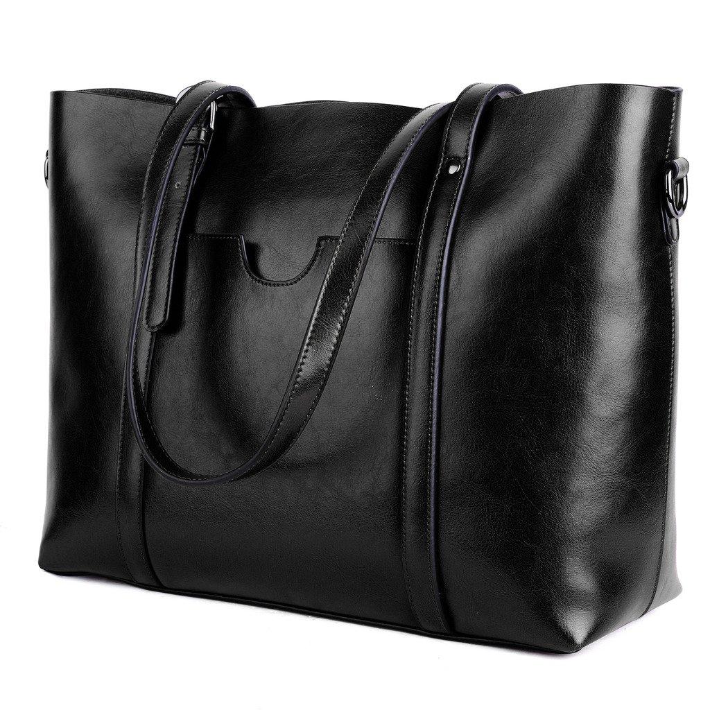 YALUXE Women's Vintage Style Soft Leather Work Tote Large Shoulder Bag Black 2