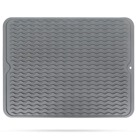 "Silicone Dish Drying Mat, STYDDI 15.8"" X 12"" Kitchen Drying Rack Mat for  Pots, Pans, Glassware, Silverware - Heat Resistant, Non-Slip Dish Draining  ..."