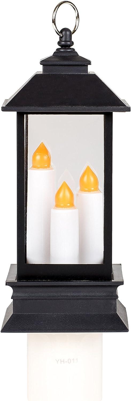 Lantern Candles Black 6 x 2 Inch Plastic Swivel Plug-In Wall Night Light