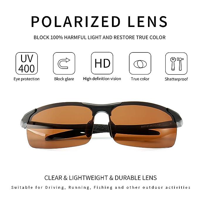 9b3465559a Amazon.com  SUNGAIT Men s HD Polarized Sunglasses for Driving Fishing Cycling  Running Metal Frame UV400 (Black Frame Brown Lens) 8177HKC  Clothing
