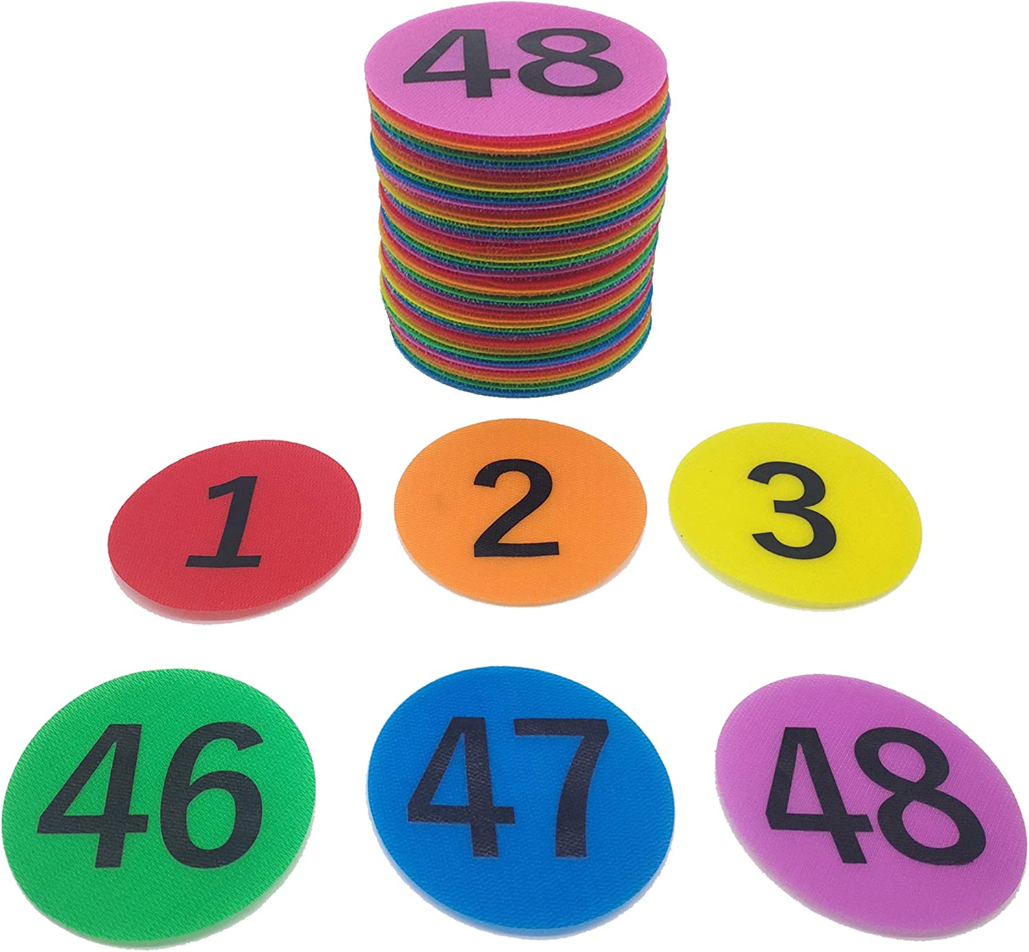 Carpet Markers Sitting Spots for Classroom, 48 Pack Colorful Nylon Carpet Sitting Spot Markers Reusable Non-Slip Sit Circles Mark Dots for Teachers Kids in Classrooms and Home School