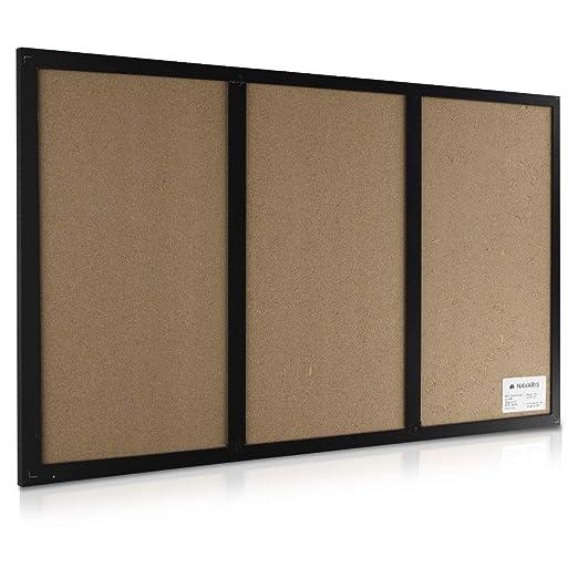 Navaris Tablero combinado de corcho pizarra y pizarra blanca magnética - Tablero de pared con marco 60x40CM - Con tizas imanes chinchetas y rotulador