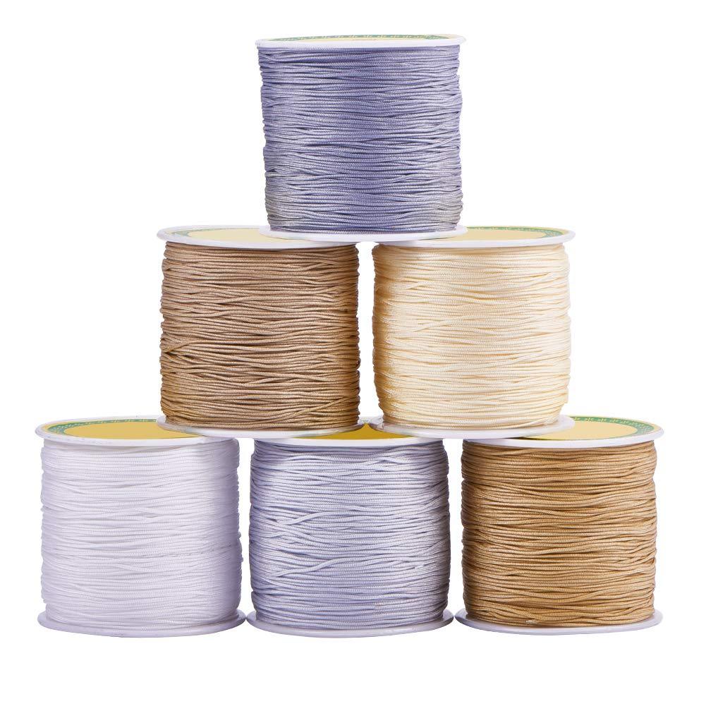 PH PandaHall 15 Colors 0.8mm Nylon Beading String Knotting Cord, Chinese Knotting Cord Nylon Shamballa Macrame Thread Beading Cord, 10.93yards/ Roll wh-NWIR-PH0001-11