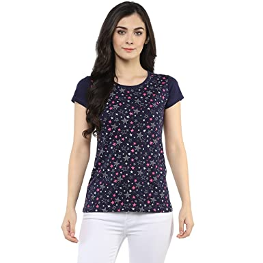 630bfc5eaa3e Modeve ® Round Neck Printed Half Sleeve Cotton T-Shirts for Women, (Navy