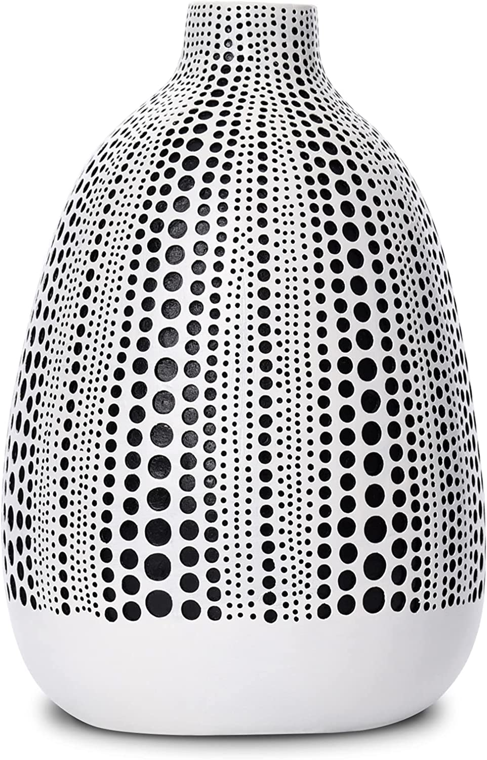 Quoowiit Flower Vase, Decorative Vases Floral Vase for Centerpieces, Vase for Home Decor, Living Room, Office Table or Wedding, Modern Resin Vases with Black and White Dots-White Short