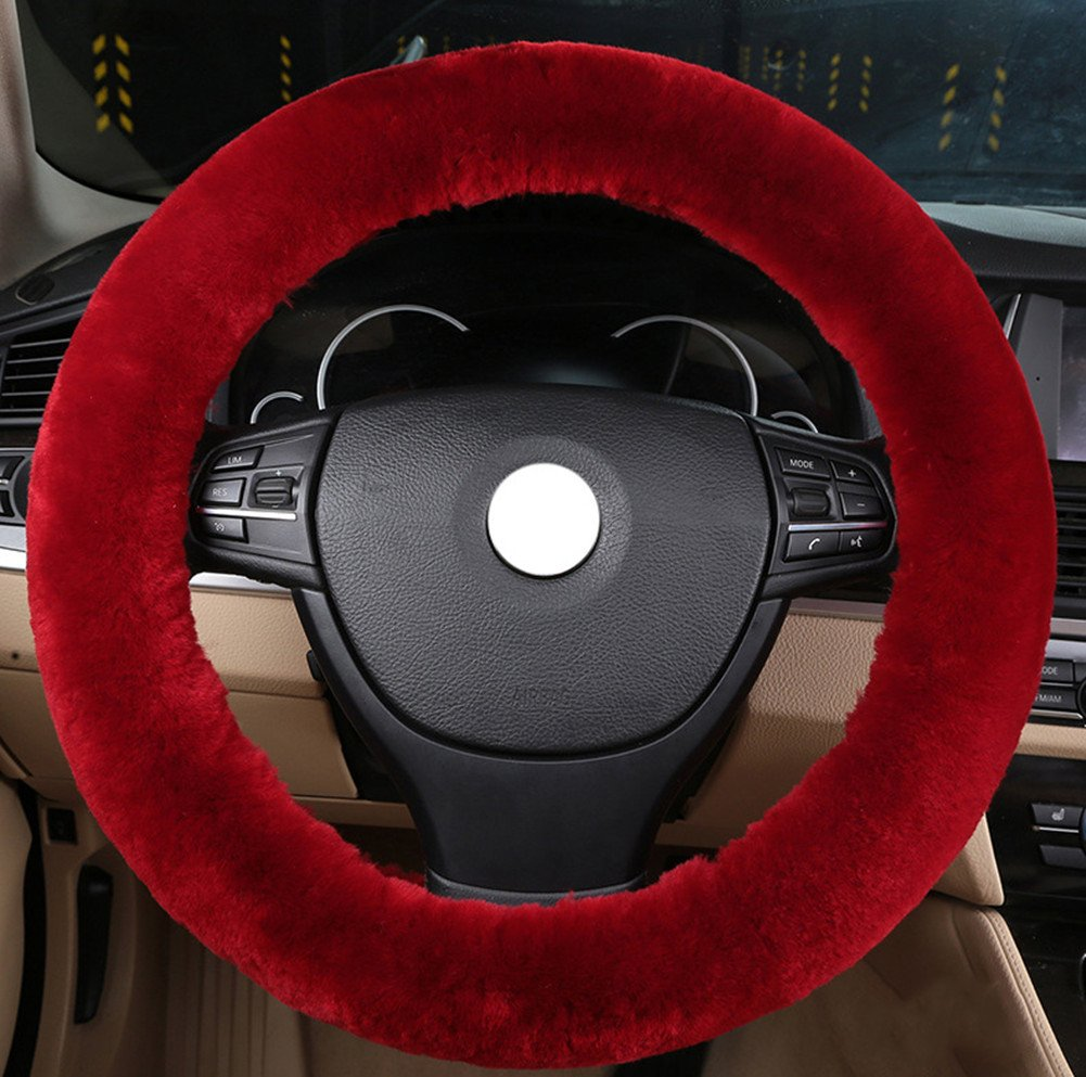 Silence Shopping Pure Wool Plush Stretch- On Vehicle Steering Wheel Cover Classic Car Wheel Protector (Red) s990R