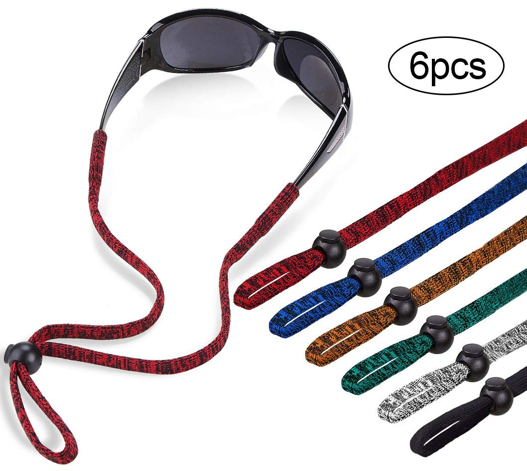 Shinkoda Sports Glasses Strap Adjustable Sunglasses Retainer for Men Kids Women - Eyeglass Holder Strap - Set of 6, Black & Space Dye(Navy/White/Green/Brown/Red) by SHINKODA