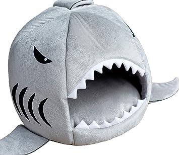 Icegrey Tiburón Cama Casa para Perrito Perro Pequeño Gato Mascotas con Plegable Cubierta Cama Gris 42x42x38cm: Amazon.es: Hogar