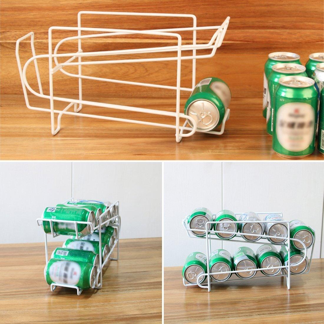 Lata cerveza bebidas dispensador contenedor, Woopower 2 Tier apilable bandeja de bebidas de almacenamiento Rack organizador de accesorio de cocina nevera ...