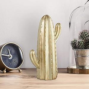 MyGift 9-Inch Decorative Gold Resin Cactus Statue Figurine, Modern Home Decor