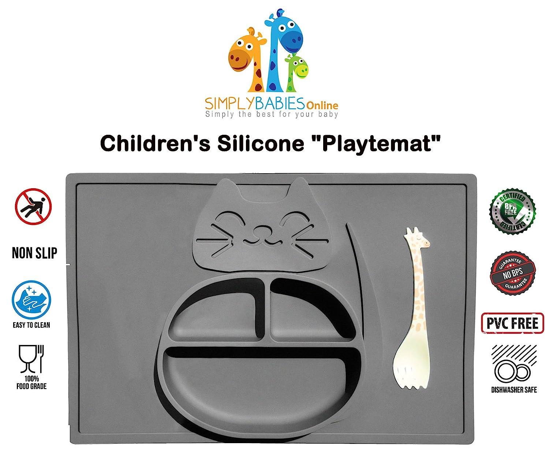 Bebe Avec cuillere amusante offerte Playtemat Set de Table /& Assiette Tout En Un Pour Enfant Napperon en silicone plastifie /& antiderapant