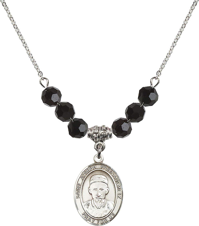 Bonyak Jewelry 18 Inch Rhodium Plated Necklace w// 6mm Jet Birth Month Stone Beads and Saint Joseph Freinademetz Charm