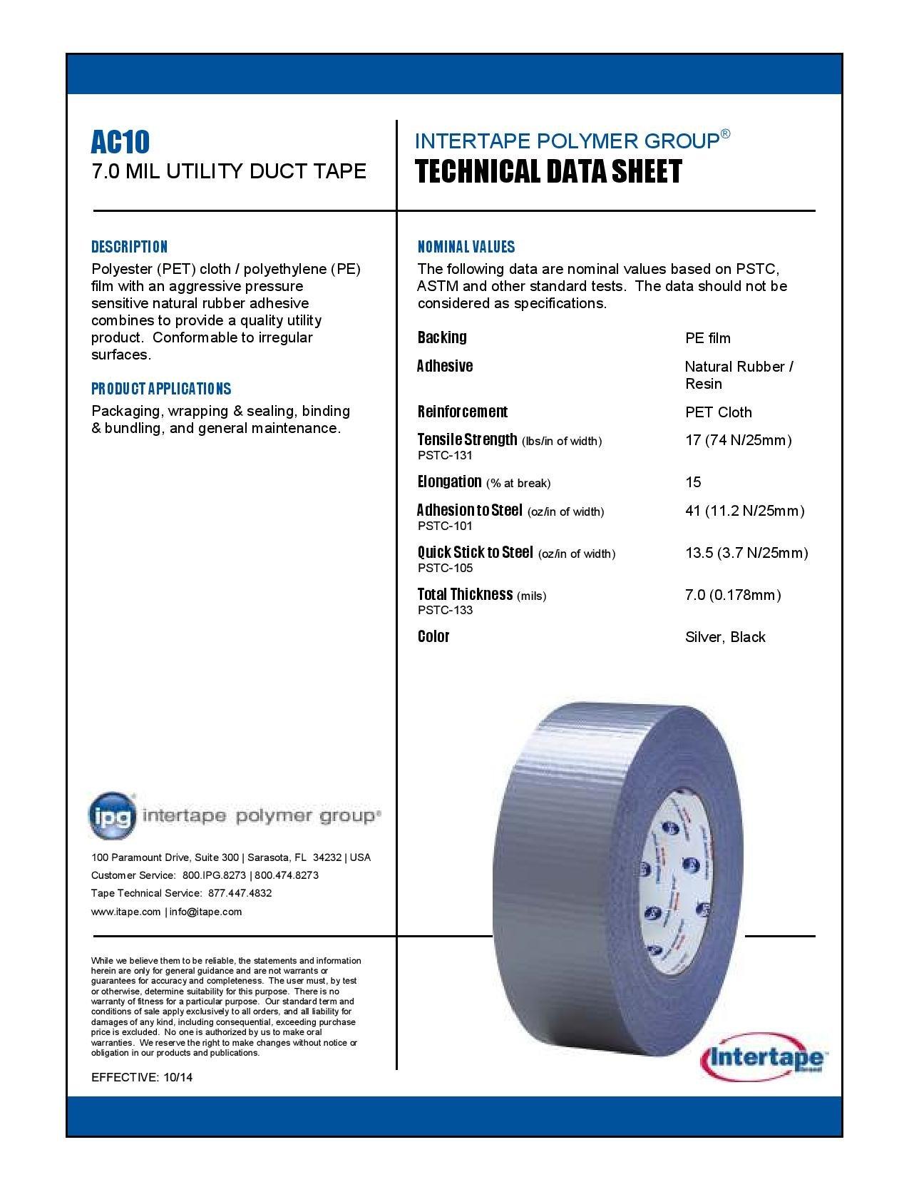 INTERTAPE AC 10 Duct Tape - Full Case - 48mm x 50.2M - Silver - 24 Rolls
