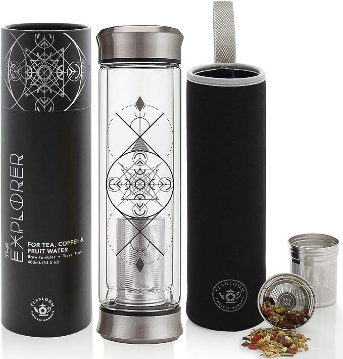 570ML Vacuum Insulated Glass Water Bottle Stainless Steel Travel Mug Tea Infuser