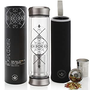 Teabloom All-Beverage Tumbler – 14 oz / 400 ml – Double Wall Insulated Glass Travel Flask – Hot Tea & Cold Brew Coffee Thermos Flask – Insulated Water Bottle – Removable Sleeve