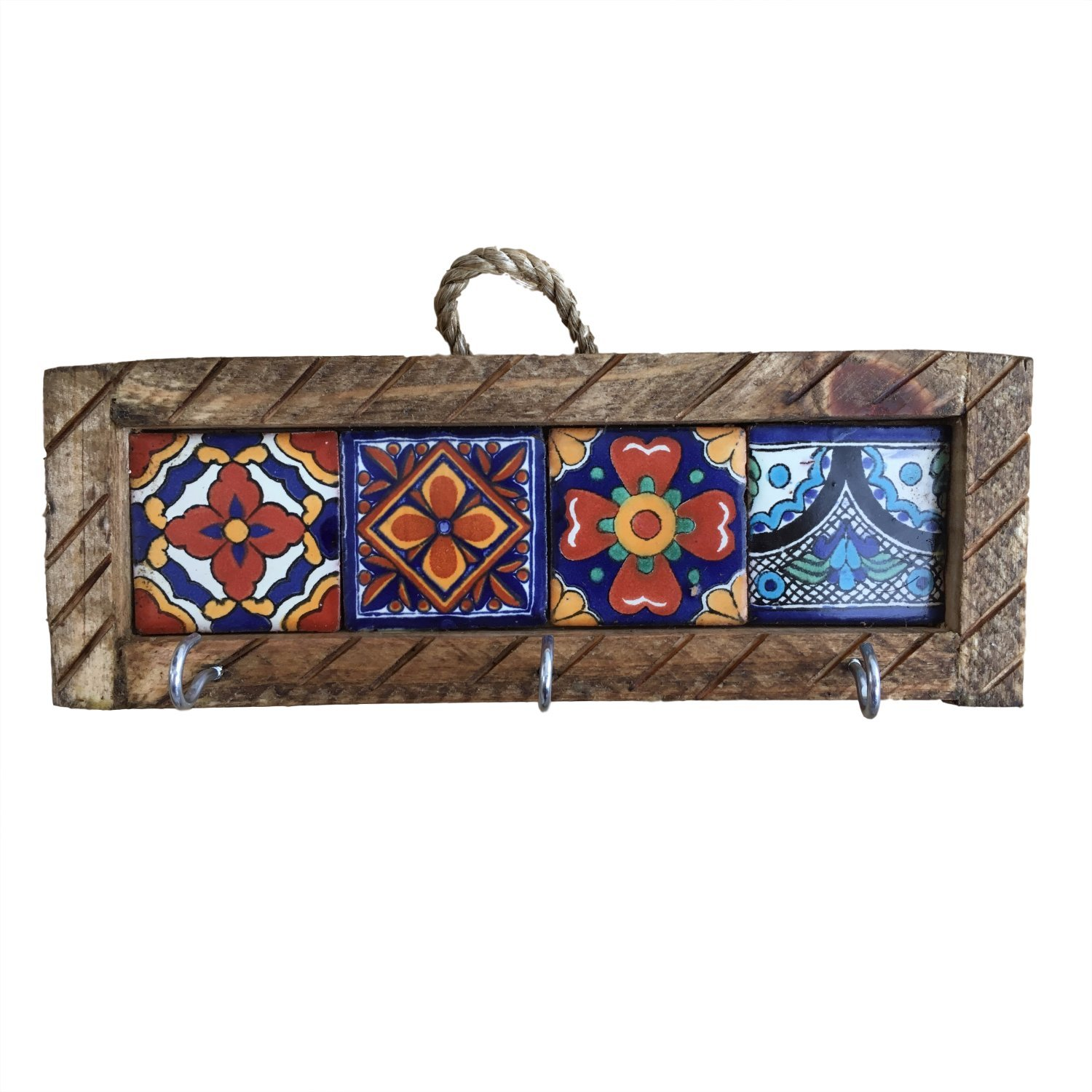 Casa Fiesta Designs Mexican Key Holder with Metal Hooks and Colorful Talavera Tiles - Mexican Style - Talavera Wall Art - Mexican Home Decor - Assorted Tiles