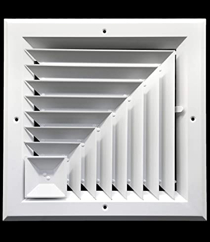 8 x 8 (in) HVAC Vent Cover - Corner Aluminum Bar Ceiling Diffuser - with  Opposing Dampers Via Lever Control [Outer Dimensions: 11