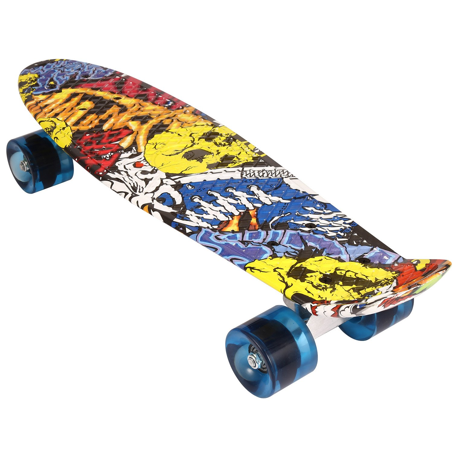 Ancheer 55cm gemustertes Skateboard Mini Cruiser Board Skateboard Kinder Retro Skateboard mit stabilen Deck 4 PU-Rollen(59mm), Retro Cruiser Skateboard, ABEC-9 Kugellager