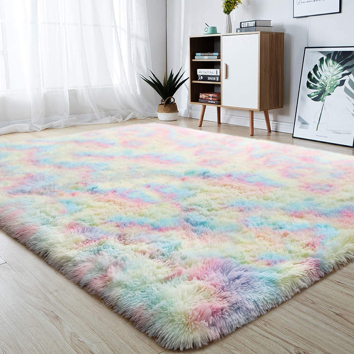 junovo Soft Rainbow Area Rugs for Girls Room, Fluffy Colorful Rugs Cute Floor Carpets Shaggy Playing Mat for Kids Baby Girls Bedroom Nursery Home Decor, 6ft x 9ft