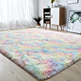 junovo Soft Rainbow Area Rugs for Girls Room, Fluffy Colorful Rugs Cute Floor Carpets Shaggy Playing Mat for Kids Baby Girls