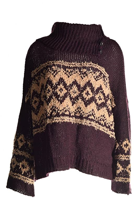 Free People Fair Isle Cowl-Neck Button-Detail Top XS at Amazon ...