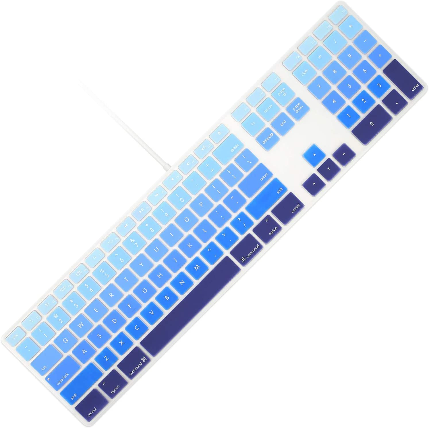 Allinside Ombre Blue Keyboard Cover for iMac Wired USB Keyboard