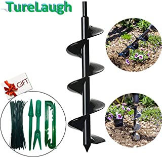 "TureLaugh Auger Drill Bit, Steel Gardening Earth Auger Hole Digger for Planting Bedding, Bulbs, Seedlings (3""x12"")"