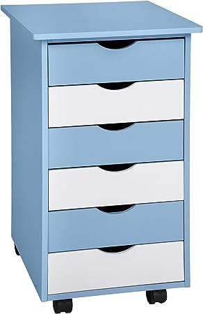 TecTake 800055 - Cajonera Infantil 65x36x40 cm, 6 Cajones para Almacenar, Madera con Revestimiento Sintético (Azul | No. 400925): Amazon.es: Hogar
