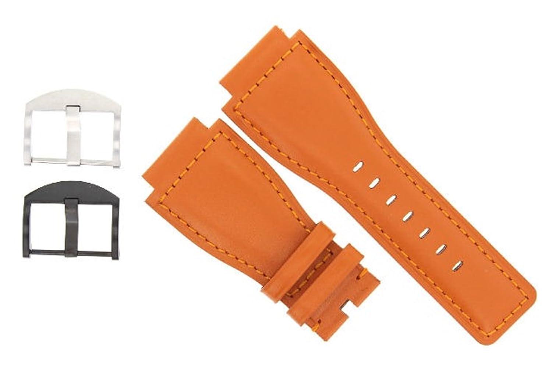 24 mm本用時計バンドストラップSmooth Bell Ross br-01-br-03オレンジ# 8b 24mm Orange/Buckle Color Silver  Orange / Buckle Color Silver 24mm B07DHM832T