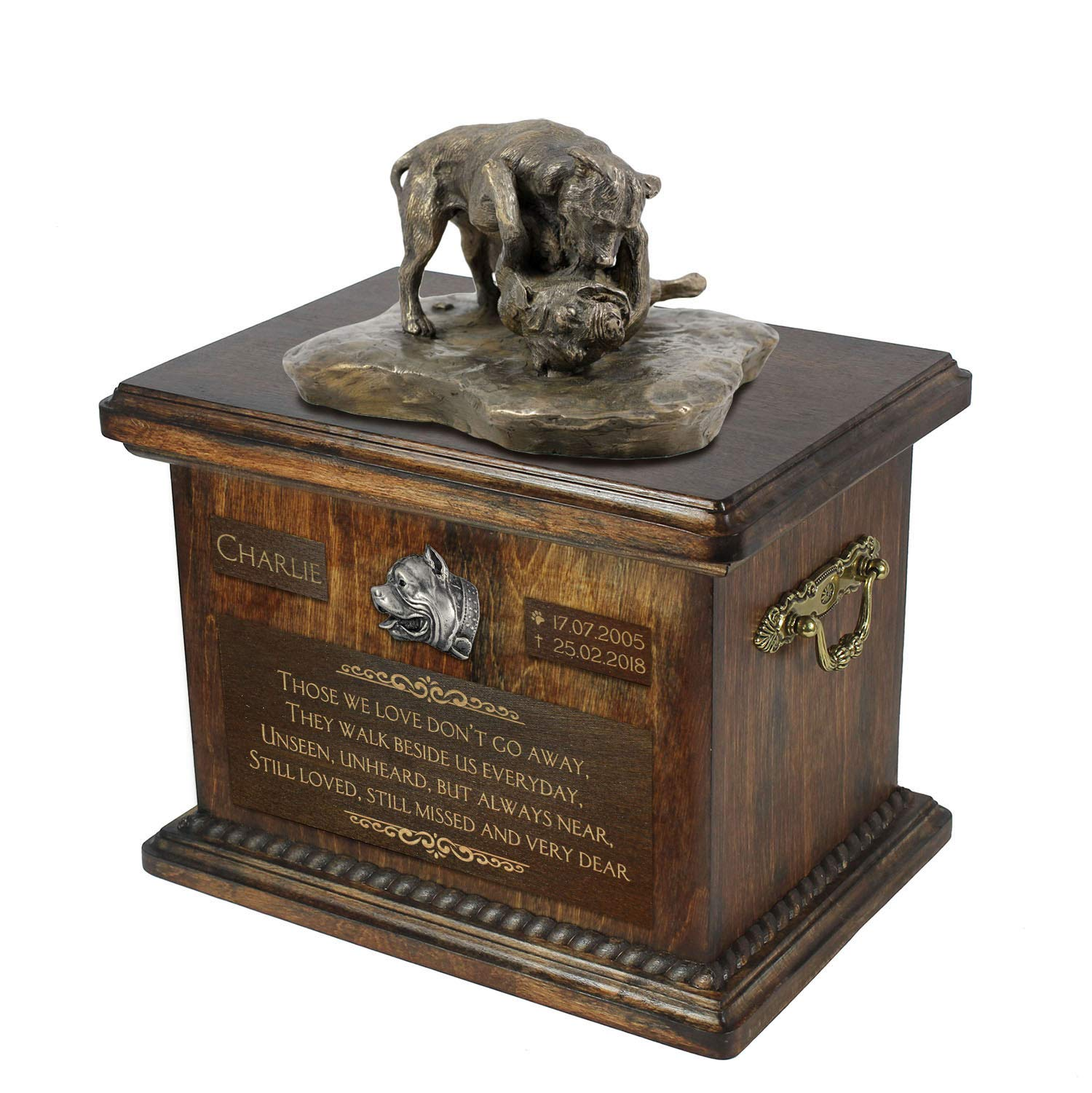 Pit Bull Fight, Urn for Dog Ashes Memorial with Statue, Pet's Name and Quote - ArtDog Personalized