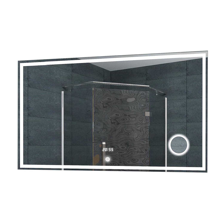 Lux-aqua Espejo de Pared Espejo con luz LED Reloj de Pared Espejo del baño de Espejo de Maquillaje Interruptor táctil en Diferentes tamaños a Elegir, ...
