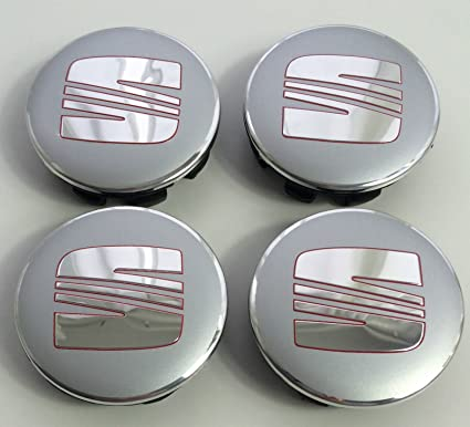 4 x Seat aleación Badges Center Nabe tapas 63 mm plata Chrome Rojo ...