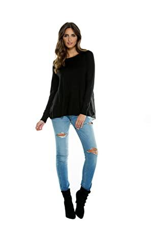 08f9077f0d78c6 ELAN Women s Sweater with Pleated Chiffon Back at Amazon Women s Clothing  store