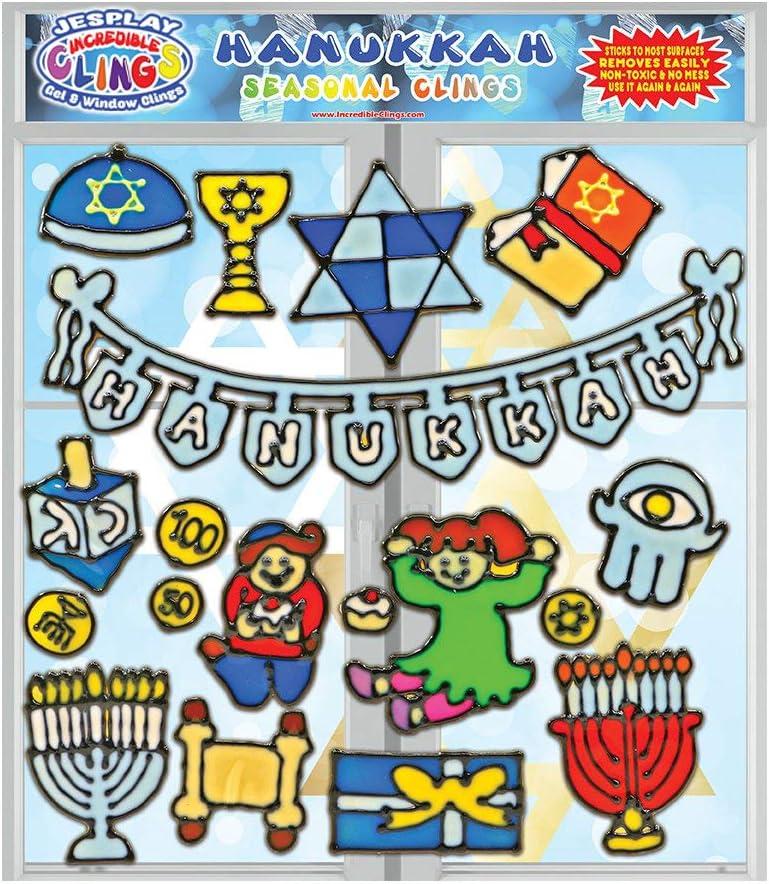 Hanukkah Flexible Gel Clings - Wall and Glass Window Clings for Kids - Chanukkah Holiday Clings, Menorah, Dreidel, Geld, Torah and More Gel Decals - Home, Airplane, Classroom, Nursery Decoration