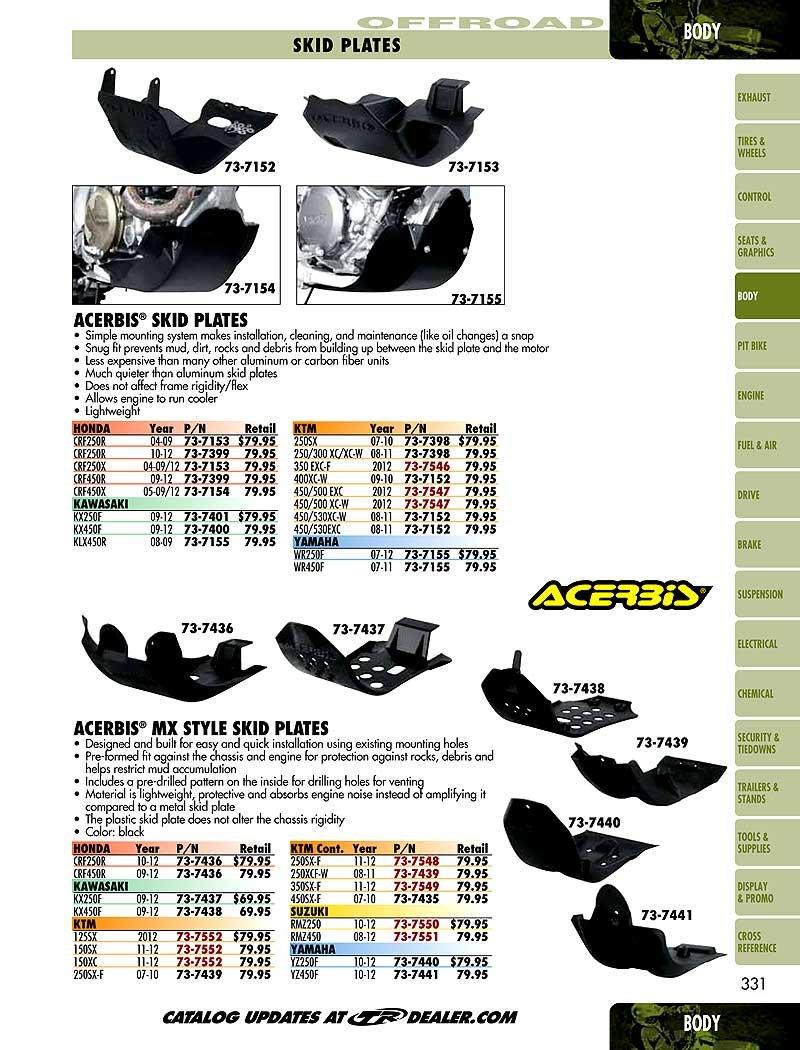 Acerbis 05-17 Honda CRF450X Skid Plate (Black) by Acerbis